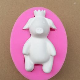 Moldes de corona online-Jabón de seguridad Moldes de Silicona Elipse Forma Crown Pig Molde de Gel de Sílice para el Hogar Dulce de Chocolate Molde de Chocolate Rosa 11wb BB