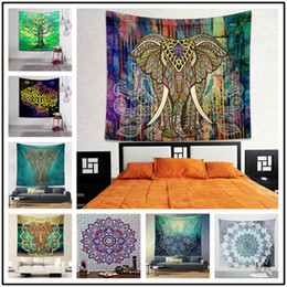 Wholesale blanket custom - 150*130CM Folk Custom Polyster Wall Hanging Blankets 70 Styles Flamingo Elephant Beach Towel Tablecloth Background Tapestry Mandala