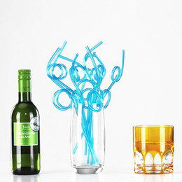 Wholesale disposable party - Colorful Straw Curly Loop Chromatic Disposable Plastic Drinking Straws For Party Decor KTV Bar Tool NNA167