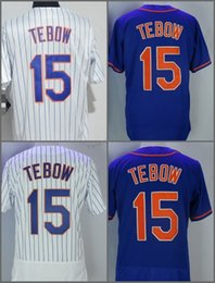 Wholesale flashing strip - 2018 Flexbase New York #15 Tim Tebow Home Away Baseball Jersey White Strips Grey Blue Green Pullover Cool Base Stitched