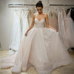 Wholesale pageant long gowns for women - Sparkle Sequined Wedding Dresses 2018 Sweetheart Sexy Backless Long Bridal Gowns Cheap Pageant Special Occasion Wears For Women