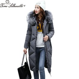 Wholesale Women Snow Jacket Fur - 2017 Winter Coat Women Large Fur Collar Hooded Cotton Coats Parkas Long Women's Jackets Outerwear Snow Wear Abrigos Mujer L278