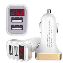 Wholesale digital usb adapter - Car Charger Digital Display Dual Port USB Adapter 2.1A Car-charger Double USB for iPhone iPad Samsung Android phone gps mp3 pc