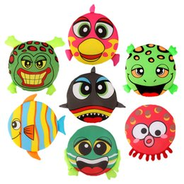 Wholesale plastic flying frisbee - Children Cartoon Intelligence Toys Creative Animal Soft Frisbee Sponge Fabric Art Fish Pattern Funny Outdoor Flying Saucer 4mw W