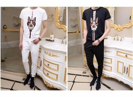 Wholesale crow harness - 2018 summer new style belt embroidered casual men's suits dog's style summer short-sleeve harness men's 2-piece suits wholesale