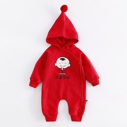 Wholesale 12 Month Onesie - Cotton New Year Clothing Long Sleeve Baby Jumpsuit Romper Print Hoodie Onesie Pajamas Home Wear Infant Baby Clothes for 0-2Years
