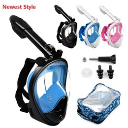 Wholesale Underwater Scuba Cameras - 2018 newest Underwater Diving Mask Snorkel Swimming Training Scuba mergulho full face snorkeling mask Anti Fog with camera stand c002