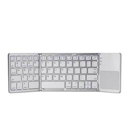Складывающаяся клавиатура для android онлайн-Новый горячий переносной A18 Bluetooth складная клавиатура дважды складная BT беспроводная сенсорная панель клавиатура для IOS / Android / Windows ipad Tablet высокое качество