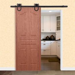 Conjuntos de madeira on-line-6ft aço escorregadio de madeira porta hardware conjunto rústico kit sistema de pista decoração novo