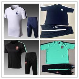 Wholesale soccer jersey portugal - france Portugal 2018 World Cup tracksuit soccer jersey Training suit wear short slevees 3 4 pants 2018 GRIEZMANN football shirt KIT