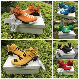 Wholesale green bowtie - red Newest Human Race With HU 2017 NMD Red Pharrell Williams Running Shoes With Box NMD Men Women Running Shoes Freeshipping Size 36-45