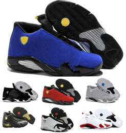 Wholesale China Athletic Shoes - Top Basketball Shoes Sneakers 14 Men Varsity Blue Suede Thunder 14s XIV Playoffs Mens Man Fusion DMP Real Athletic China Brand Online Sale
