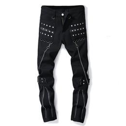 chaînes de pantalon Promotion Les hommes évasés à la mode des hommes noirs flared étirent la chaîne multi de glissière usent des pantalons décontractés d'homme avec des rivets pantalons slim fit