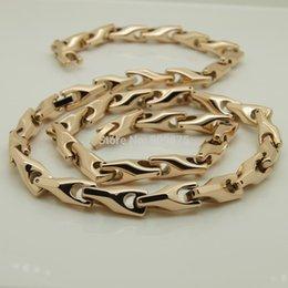 colar de ouro Desconto variam largura comprimento 14 '' -40 '' 8mm largura subiu chapeamento de ouro design clássico bicicleta cadeia homens / mulheres oi-tech colares de tungstênio