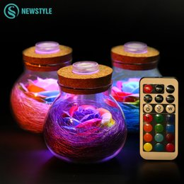 Wholesale Roses Light Bulbs - LED RGB Dimmer Lamp Night Light Flower Bottle Creative Romantic Rose Bulb Great Holiday Gift For Girl 16 Colors