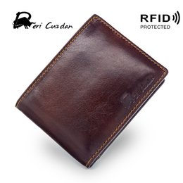 Wholesale Mens Rfid Wallets - DERI CUZDAN RFID Wallet Vintage Mens Short Wallet Leather Genuine Double Photo Holder Rfid Blocking Slim Leather Dollar