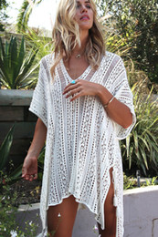 Wholesale Robes Plage - NC 2018 Pareo Beach Cover Up Floral Embroidery Bikini Cover Up Swimwear Women Robe De Plage Beach Cardigan Bathing Suit Cover Ups