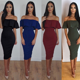 Wholesale Womens Lace Sheath Dress - 2017122515 Black Red Off Shoulder outfits Autumn Sleeveless Dress Womens Sexy Solid Color Bodycon Dresses Evening Party Vestidos