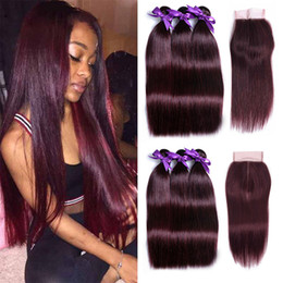 Wholesale Dark Wine Color Hair - 99J Colored Hair Bundles with Closure Brazilian Dark Wine Red Straight Human Hair Weave 3 Bundles with 4X4 Lace Closure Free Middle Part