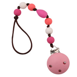 Wholesale Dummy Hands - New Baby Pacifier Clip Pacifier Chain Hand Made Cute Colourful Beads Dummy Clip Baby Soother Holder For Kid