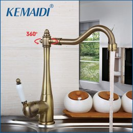 Wholesale Antique Copper Bathroom Faucets - Wholesale-KEMAIDI Traditional Antique Copper Finish Kitchen & Bathroom Faucet Single Handle Deck Mounted Rotatable Brass Mixers & Taps