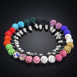 Argentina 14 pares / caja Rhinestone Pave Pendientes de arcilla Set 8 mm Micro Disco Ball Crystal Stud Pendientes para las mujeres joyería de moda Suministro