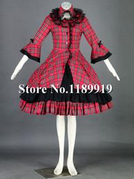 Cosplay Gótico Vintage Lolita Conto De Fadas Alice Doce Bowknot Vestido De Vinho Tinto Vestido cheap lolita cosplay gown de Fornecedores de lolita cosplay vestido