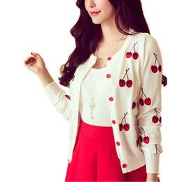 Wholesale cherries coat - Autumn spring women Sweater cherry Embroidery Pattern Cardigan lady jacket coat Long Sleeve Short Knitting Cardigan White
