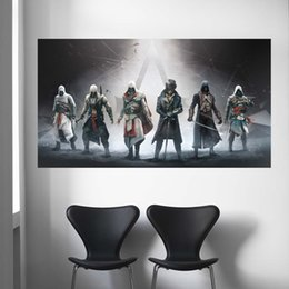 2019 lona do credo dos assassinos Assassins Creed Video Game Poster Impressão Meninos Quarto Home Decor Canvas Pintura Retrato Da Parede para Sala de estar Grande Arte Da Parede lona do credo dos assassinos barato