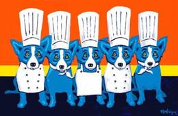 """pintura al óleo sobre lienzo para cocina Rebajas George Rodrigue Perro azul """"Calor en la cocina"""" Pintura al óleo HD pintada a mano de alta calidad Decoración para el hogar Arte de la pared Sobre lienzo Tallas múltiples"""
