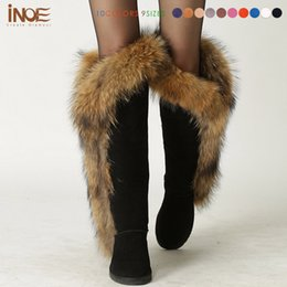 Wholesale Ladies Long Fur Boots - Real fox fur cow suede leather long winter snow boots for women over the knee boots flats party shoes lady motorcycle