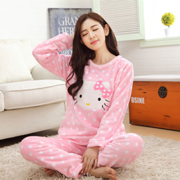 72fbbdc92 2 piece 2018 autumn winter women girls lovely pink hello kitty Flannel  pajamas suit Female Cartoon home warm sets fleece clothes