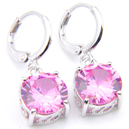 pink gemstones earrings Promo Codes - 10Prs Luckyshine Classic Fashion Fire Round Pink Kunzite Cubic Zirconia Gemstone Silver Dangle Earrings for Holiday Wedding Party