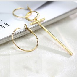 Wholesale Ear Loops - Asymmetrical Circle Earrings Women Korean Fashion Atmosphere Ear Loop Geometric Stud Earrings Silver Jewelry Wholesale