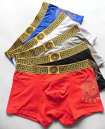 Wholesale Underwear Boxers Color - Hot brand VERSA Men Underwear Boxers Soft Cotton 5 Color M-XXL Breathable Letter Underpants Shorts Luxury Brand Design Cuecas Tight Waistban