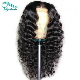 Wholesale Bythair x6 Parte profunda Encaje Frontal Peluca de cabello humano Gran rizado Pre arrancado del cabello Cabello virgen de Malasia Rizado de densidad Nudos blanqueados