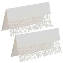 Wholesale White Wedding Place Cards - 10Pcs Lot Lace Name Place Cards Wedding Party Table Chic Pearle scent Decor Table Name Message Beige White Greeting Card GF093