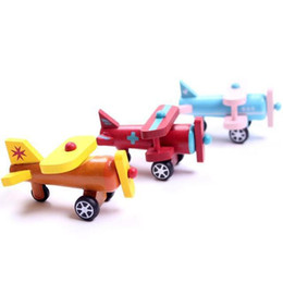 Wholesale wooden airplanes - Wood Multi-pattern Creative Toys Mini Airplane Kids Baby Early Educational Gift Boys Girls Air Planes Random Color For Children