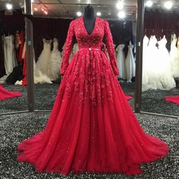 Wholesale coral womens dress - Gorgeous Dark Red Evening Dresses Long Sleeves Beads Sequin Sash Appliques Womens Formal Party Dress A Line Vestidos de Noiva Prom Gowns