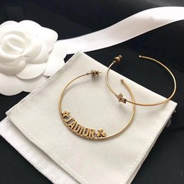 Wholesale Gold Coral Jewelry - Jadior Earrings for lady Cd BRAND Logo Fashion Design Women Party Wedding Brooches D-logo Luxury Imitation Jewelry With BOX