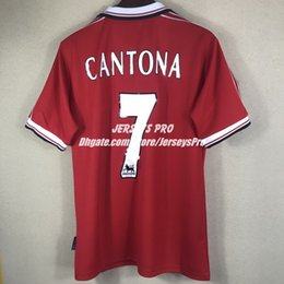 Wholesale Old Home - Eric Cantona 1998 1999 98 99 Retro Soccer Jerseys Camiseta Old Trafford Home Red football shirts Tops Maillot de foot Maglia Di Calcio