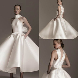 2019 vestido de boda de bolsillos arco Cuello alto elegante vestido de novia con bolsillos volantes de satén vestidos de novia de moda por encargo corto vestidos de boda vestido de boda de bolsillos arco baratos