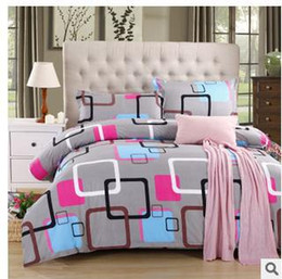 Wholesale queen pillowcase size - Wholesale-wholesale Home textile Reactive Print 4Pcs bedding sets luxury include Duvet Cover Bed sheet Pillowcase,King Queen Full size