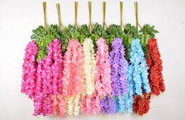 2019 piano vasi fiori artificiali 1.1 metro di spessore fiori artificiali glicine artificiale Vite 6 colori decorativi bouquet ghirlande per la festa di nozze a casa dicembre