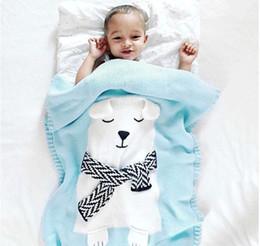 Wholesale Crocheted Baby Shawls - Cute Cartoon Little White Bear High Quality Child Baby Knit Blanket Blanket shawl Stereo Bear Ear