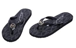 Sandalias de mujer online-sandalias de lujo marca mkkk mujeres zapatillas de gama alta moda de cuero de las señoras sandalias de cuero único de gama baja zapatos de mujer de gama alta mk