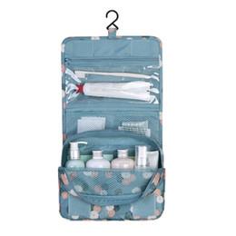 Organizador de saco de poliéster on-line-2018 Pendurado Viagem Saco de Cosmética Mulheres Zipper Make Up Bags Poliéster de Alta Capacidade Caso de Maquiagem Bolsa organizador Saco De Lavagem De Armazenamento