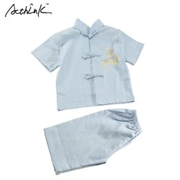 Wholesale Chinese Clothes For Boys - ActhInK Children Summer Linen Short Tang Suit for Boys Chinese Style Kids Embroidery Dragon Boys Summer Beach Clothing Set,MC116