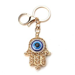 Wholesale Turkish Evil Eye Gold - Fashion Gold Color Hollow Out Hamsa Hand Key Chain Turkish Evil Eye Crystal Fatima Palm Key Ring