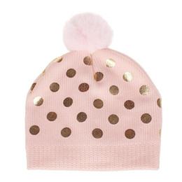 Sombrero de punto para niños online-Los nuevos niños de los muchachos del algodón de lana de punto de puntos bola de pelo de la tapa de los bebés del casquillo del sombrero de lentejuelas de la moda